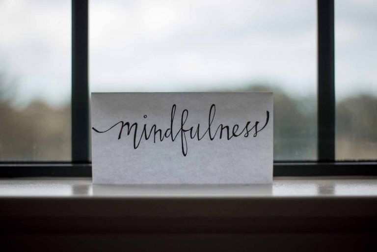 The word mindfulness sits in a window